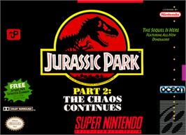 Box cover for Jurassic Park Part 2: The Chaos Continues on the Nintendo SNES.
