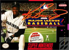 Box cover for Ken Griffey Jr Presents Major League Baseball on the Nintendo SNES.