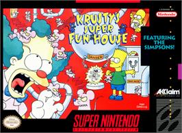 Box cover for Krusty's Fun House on the Nintendo SNES.