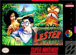 Box cover for Lester the Unlikely on the Nintendo SNES.