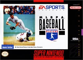 Box cover for MLBPA Baseball on the Nintendo SNES.