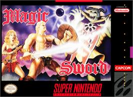 Box cover for Magic Sword on the Nintendo SNES.