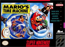 Box cover for Mario's Time Machine on the Nintendo SNES.