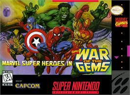Box cover for Marvel Super Heroes in War of the Gems on the Nintendo SNES.