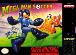 Box cover for Mega Man Soccer on the Nintendo SNES.