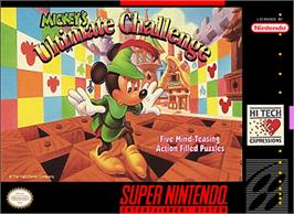 Box cover for Mickey's Ultimate Challenge on the Nintendo SNES.
