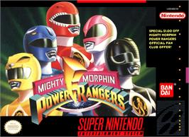 Box cover for Mighty Morphin Power Rangers: The Fighting Edition on the Nintendo SNES.
