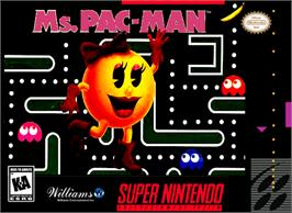 Box cover for Ms. Pac-Man on the Nintendo SNES.