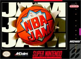 Box cover for NBA Jam on the Nintendo SNES.