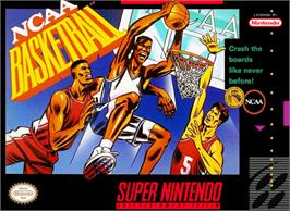 Box cover for NCAA Basketball on the Nintendo SNES.