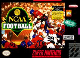 Box cover for NCAA Football on the Nintendo SNES.