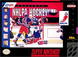 Box cover for NHLPA Hockey '93 on the Nintendo SNES.