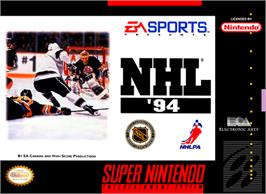 Box cover for NHL '94 on the Nintendo SNES.