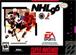 Box cover for NHL '96 on the Nintendo SNES.