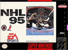 Box cover for NHL Hockey '95 on the Nintendo SNES.