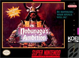 Box cover for Nobunaga's Ambition on the Nintendo SNES.