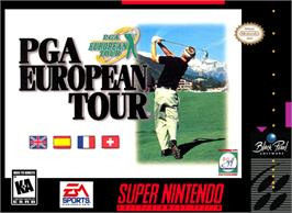 Box cover for PGA European Tour on the Nintendo SNES.