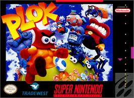 Box cover for Plok on the Nintendo SNES.