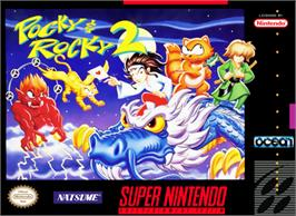 Box cover for Pocky & Rocky 2 on the Nintendo SNES.