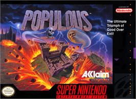 Box cover for Populous on the Nintendo SNES.