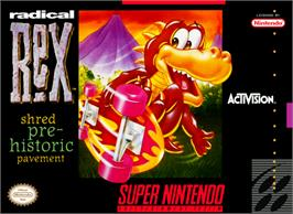 Box cover for Radical Rex on the Nintendo SNES.