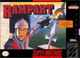 Box cover for Rampart on the Nintendo SNES.
