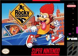 Box cover for Rocky Rodent on the Nintendo SNES.