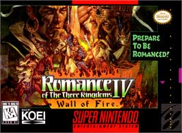 Box cover for Romance of the Three Kingdoms IV: Wall of Fire on the Nintendo SNES.