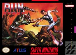 Box cover for Run Saber on the Nintendo SNES.