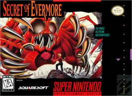 Box cover for Secret of Evermore on the Nintendo SNES.