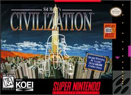Box cover for Sid Meier's Civilization on the Nintendo SNES.