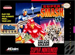 Box cover for Smash T.V. on the Nintendo SNES.