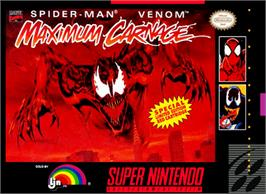 Box cover for Spider-Man & Venom: Maximum Carnage on the Nintendo SNES.