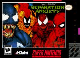 Box cover for Spider-Man & Venom: Separation Anxiety on the Nintendo SNES.