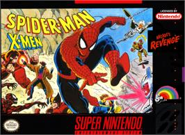 Box cover for Spider-Man and the X-Men: Arcade's Revenge on the Nintendo SNES.