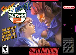 Box cover for Street Fighter Alpha 2 on the Nintendo SNES.