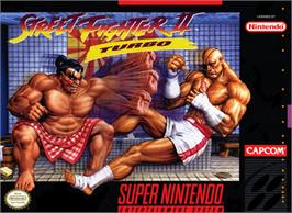 Box cover for Street Fighter II Turbo: Hyper Fighting on the Nintendo SNES.
