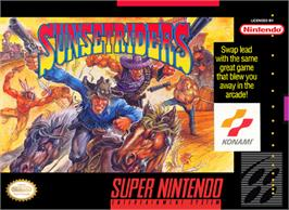 Box cover for Sunset Riders on the Nintendo SNES.