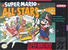 Box cover for Super Mario All-Stars on the Nintendo SNES.