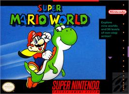 Box cover for Super Mario World on the Nintendo SNES.