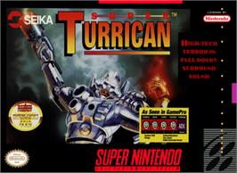 Box cover for Super Turrican on the Nintendo SNES.