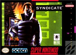 Box cover for Syndicate on the Nintendo SNES.