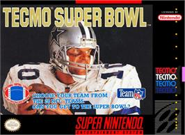 Box cover for Tecmo Super Bowl on the Nintendo SNES.