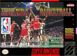 Box cover for Tecmo Super NBA Basketball on the Nintendo SNES.