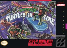 Box cover for Teenage Mutant Ninja Turtles IV: Turtles in Time on the Nintendo SNES.