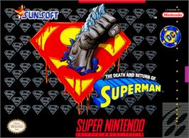Box cover for The Death and Return of Superman on the Nintendo SNES.