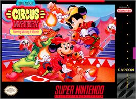 Box cover for The Great Circus Mystery starring Mickey and Minnie Mouse on the Nintendo SNES.