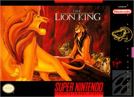 Box cover for The Lion King on the Nintendo SNES.