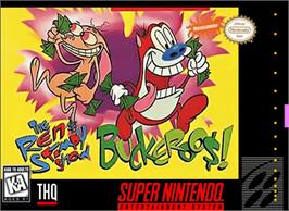 Box cover for The Ren & Stimpy Show: Buckaroo$! on the Nintendo SNES.