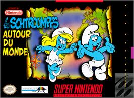 Box cover for The Smurfs Travel the World on the Nintendo SNES.